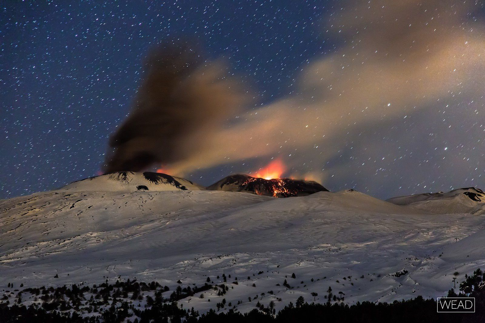 Etna - Strombolian activity at the Bocca Nuov and the south-east craters - photo Marco Restivo 31.01.2017
