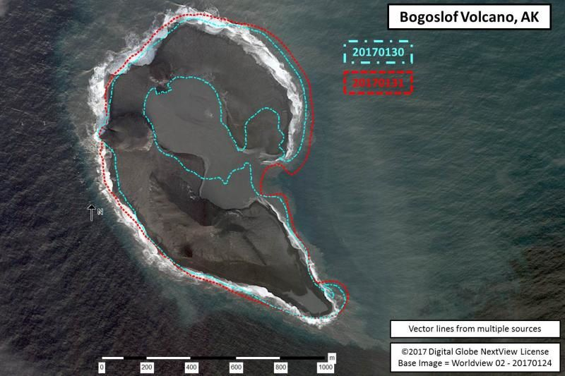 Bogoslof - morphological changes of 30.01 (blue line) and 31.01 (red line) / on the basis of a photograph of 24.01 - doc. AVO