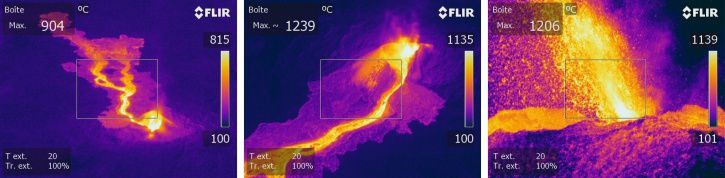 Piton de La Fournaise - Thermal images of the eruptive site taken in aerial view on 02/02/2017, 8:45 local time (left and middle) and ground on 01/02/2017, 10:00 local time. (© OVPF / IPGP)