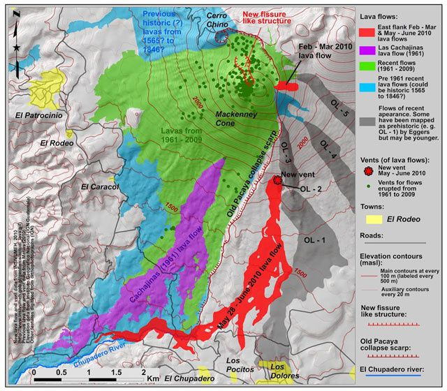 Simplified geological map of Pacaya, based on cited references, INSIVUMEH mapping, and GOES satellite data. - GVP 2014