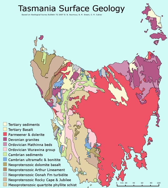 Simplified geological map of Tasmania - dolerite in red - map G.Bartlett
