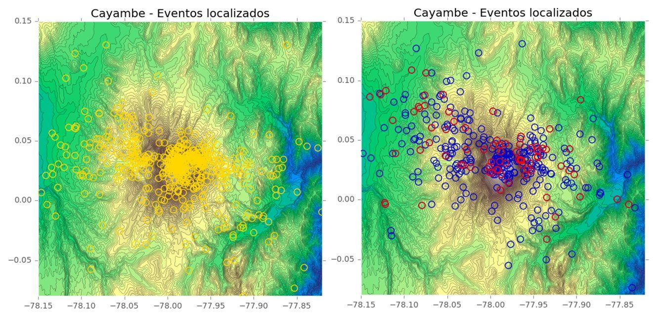 Cayambe - earthquake localization: on the left, Nov and Dec. 2016 (in yellow)&#x3B; Right, janv.2017 (in blue) and fev. 2017 (in red) - a click to enlarge - Doc. IGEPN