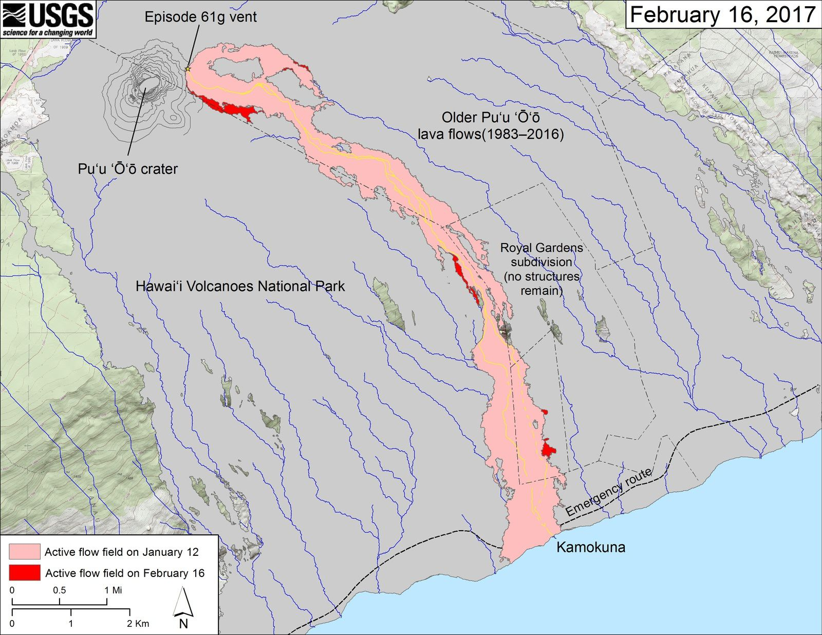 Kilauea / Pu'u O'o - carte des coulées et breakouts au 16.02.2017 - Doc. HVO