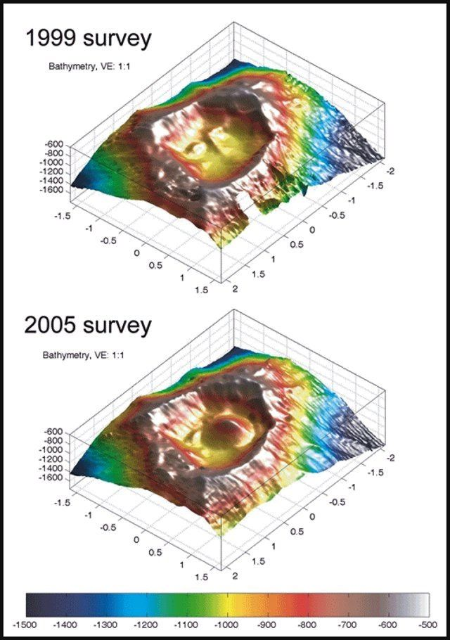 Vailulu'u - bathymetry of 1999 and 2005 - Courtesy of H. Staudigel and S. Hart./ in GVP