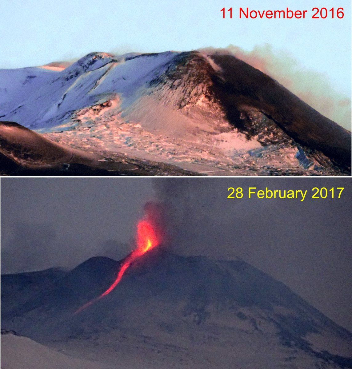 Etna - differences of morphology between 11.11.2016 and 28.02.2017 - doc. Boris Behncke