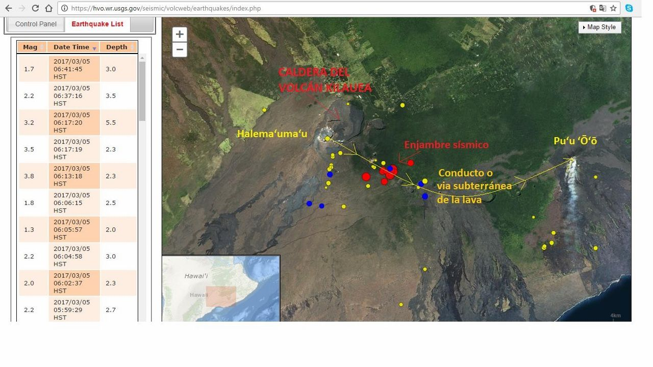 Kilauea - seismic swarm of 05.03.2017 - annotations  Volcanoes and ciencia hoy