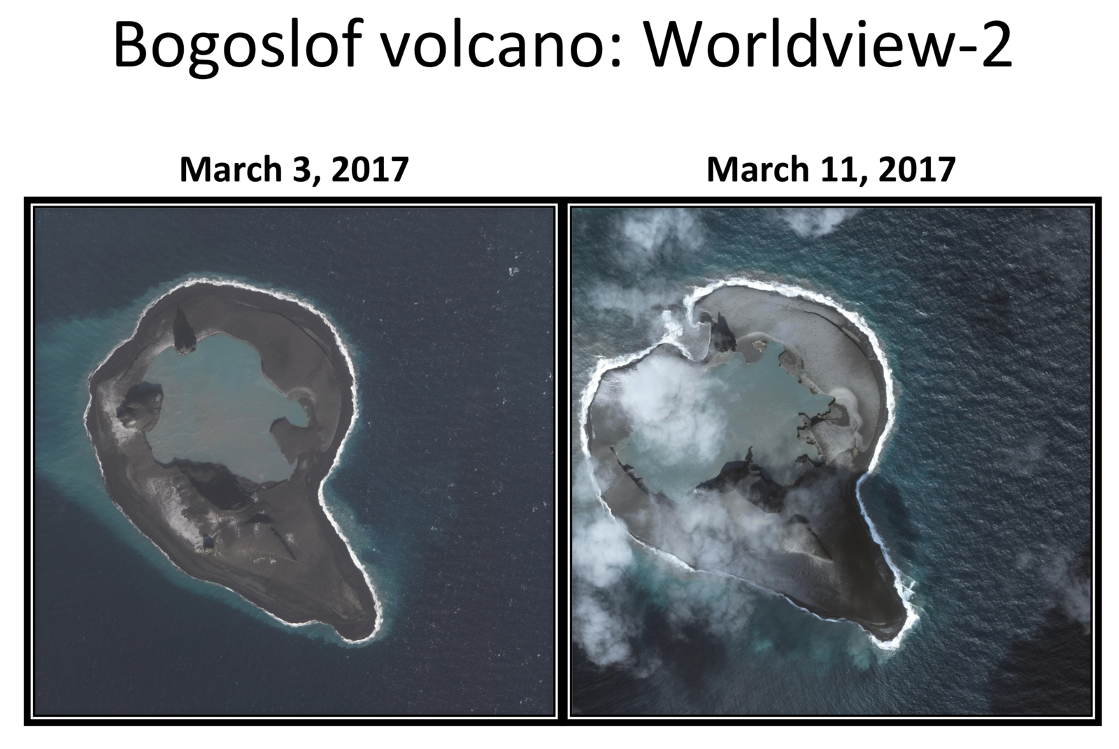 Bogosmlof - Evolution morphologique entre le 3 et le 11 mars 2017 -  un clic pour agrandir - photo Dave Schneider / AVO / Worlview 2 sat  Image data provided under Digital Globe NextView License.