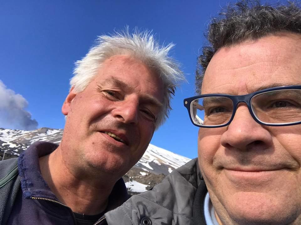 Etna - 16.03.2017 - Selfie of Turi Caggegi and Boris Behncke, slightly bruised but safe and sound.