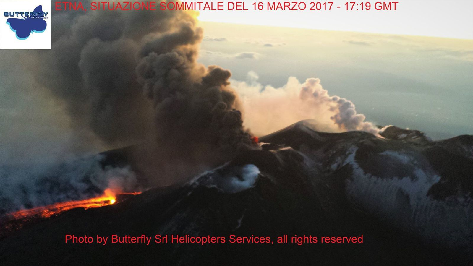 Etna - Emissions of ashes and lava flow on 16.03.2017 / 17:19 GMT - photo J.Nasi / Butterfly Srl Helicopters Services