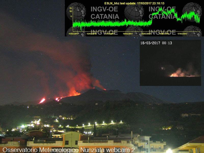 Etna 18.03.2017 - From right to left: glow at La Voragine, strombolian activity in the SEC, effusion at the foot of the cone, lava flow with 3 entry points in the Valle del Bove - doc.Osservatorio Meteorologico Nunziata - via Antonio Zimbone