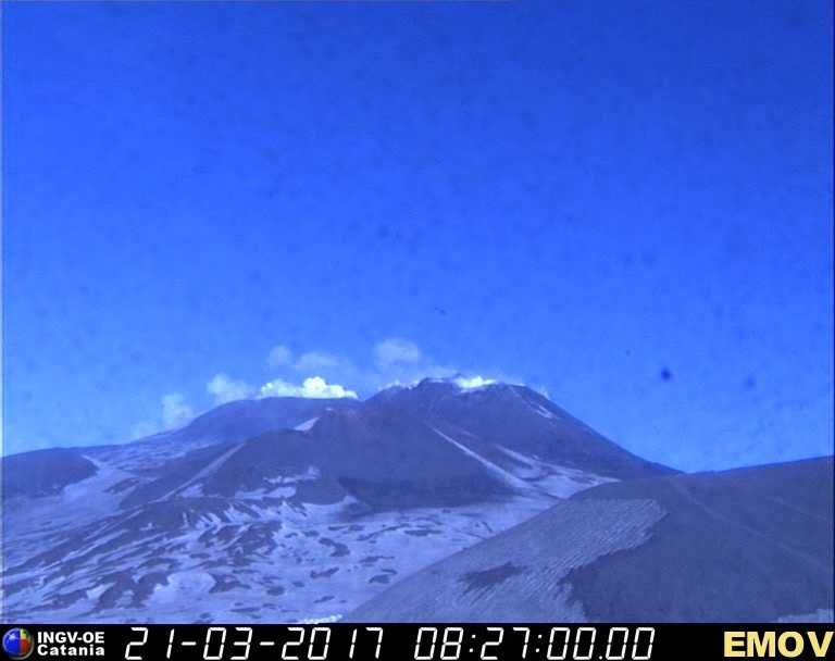 Etna - SEC and Voragine craters degassing - webcam INGV Catania