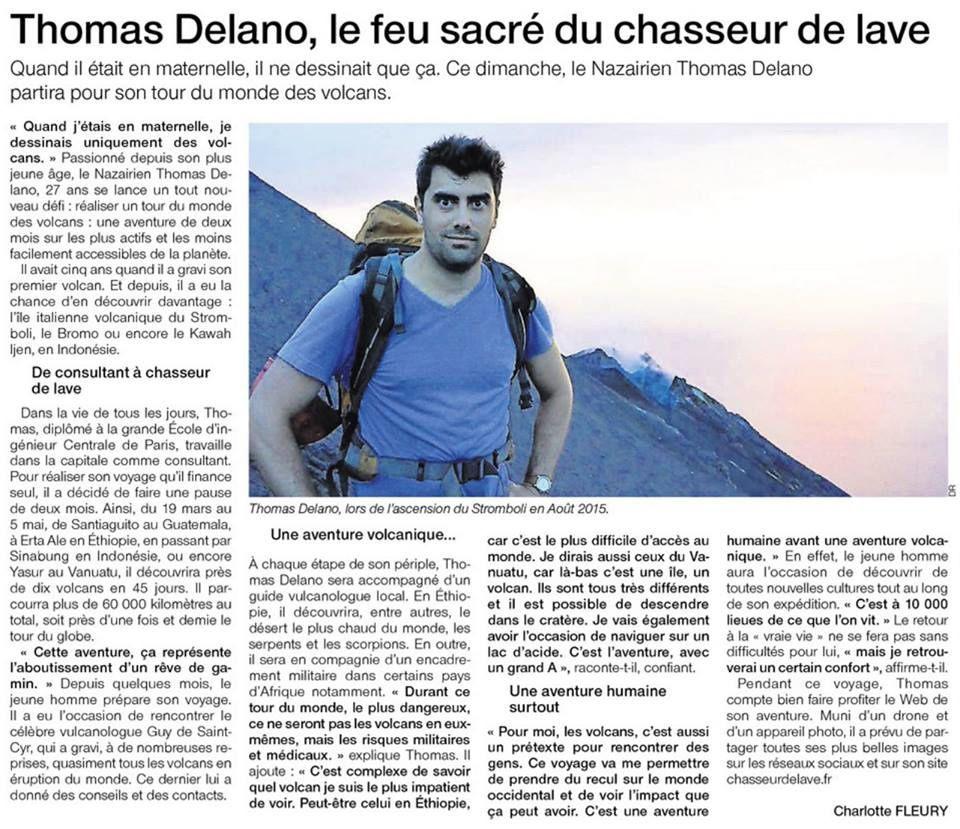 Presentation of Thomas Delano in the newspaper Ouest-France
