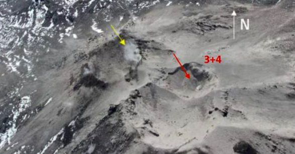 Nevados of Chillan - 25.03.2017 - unification of craters 3 and 4&#x3B; Fumaroles in the crater Nuevo and Arrau - doc. Sernageomin