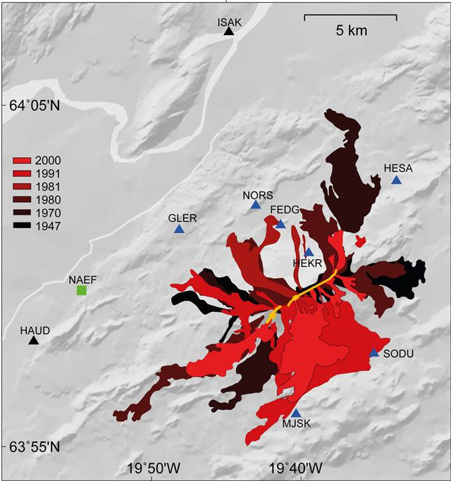 Hekla - lava flows from 1947 to the present day - map Sigrún Hreinsdóttir in GVP