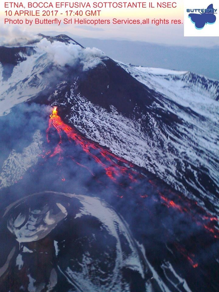 Etna - activity of 10.04.2017 at 17:40 GMT - photo Butterfly helico via Joseph Nasi