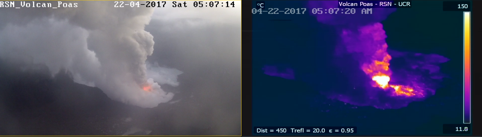Poas - 22.04.2017 / 5h07 loc. - the amplification provided by the images of the webcam allows to see the point of emission of the eruptions - RSN