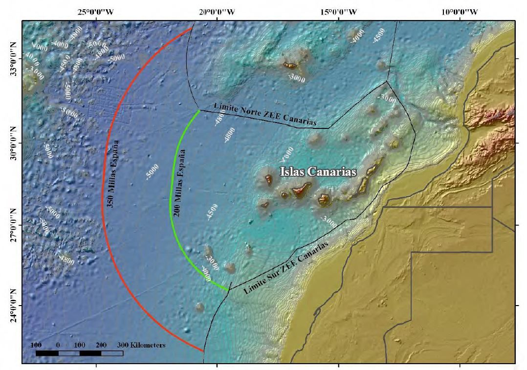 Potential extension of Spain to the west of the Canary Islands between 200 and 350 nautical miles, according to Article 76 of the Convention. - Doc. Avcan Exarcan Campaign