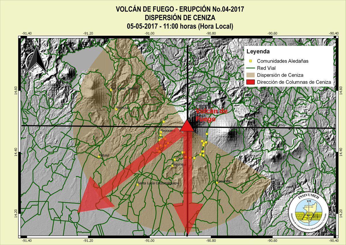 Zones et axes de dispersion des cendres de l'éruption du Fuego ce 05.05.2017 / 11h locale - Doc. Insivumeh
