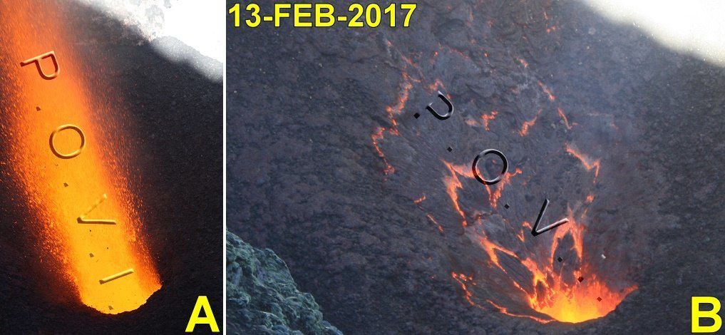 Villarica - A.- type 0 explosion (February 2017, VN Villarrica): it is defined as a high-speed emission (150-200 meters / second), dominated by gases, lava particles and pyroclasts. B.- 20 seconds after the explosion (a). Slim flow of lava splashes inside the transmitter duct. To the extent that the flow progresses on the slope, the surface on the point of solidifying, colder, expands, showing the incandescent interior. - photo Werner Keller / POVI