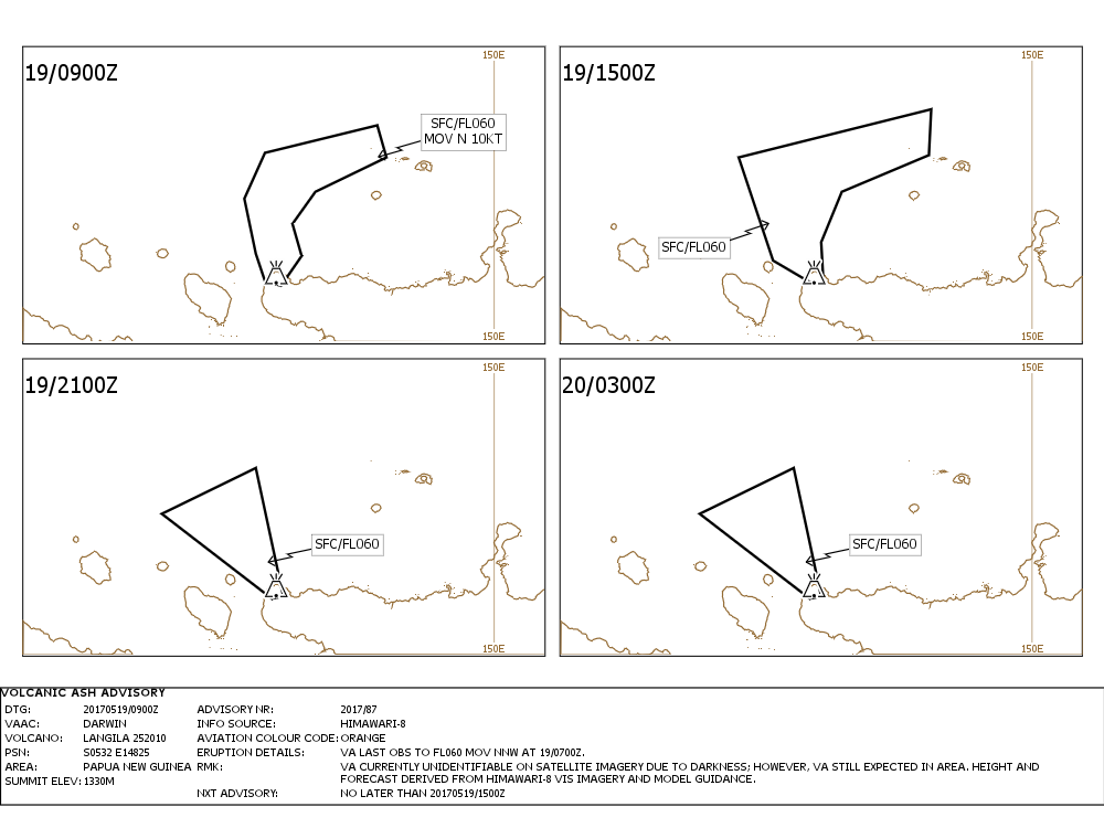 Langila - orange aviation code and volcanic ash advisory for 19 and 20.05.2017 - Doc. VAAC Darwin