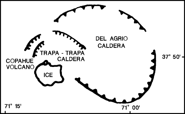 The Copahue complex - with calderas Del Agrio and Trapa-Trapa - map adapted from a map of O. González-Ferrán / GVP