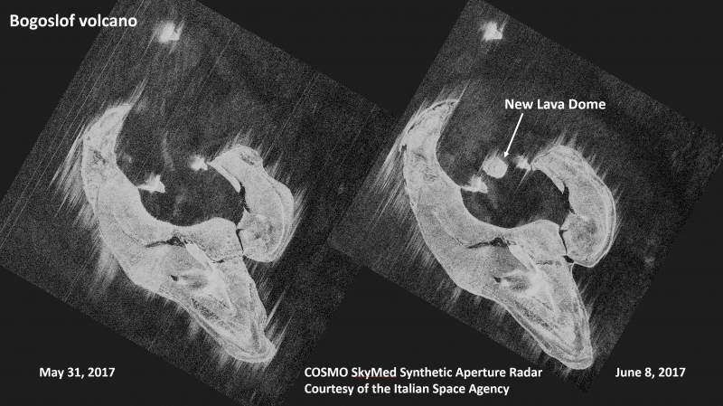 Bogoslof - comparative radar images showing the appearance of the new dome on June 8, 2017 - Images Italian Space Agency, via AVO-USGS