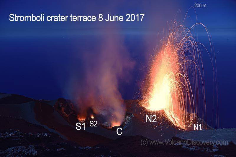 Stromboli - les évents actifs le 8 juin 2017 - doc. Volcanodiscovery