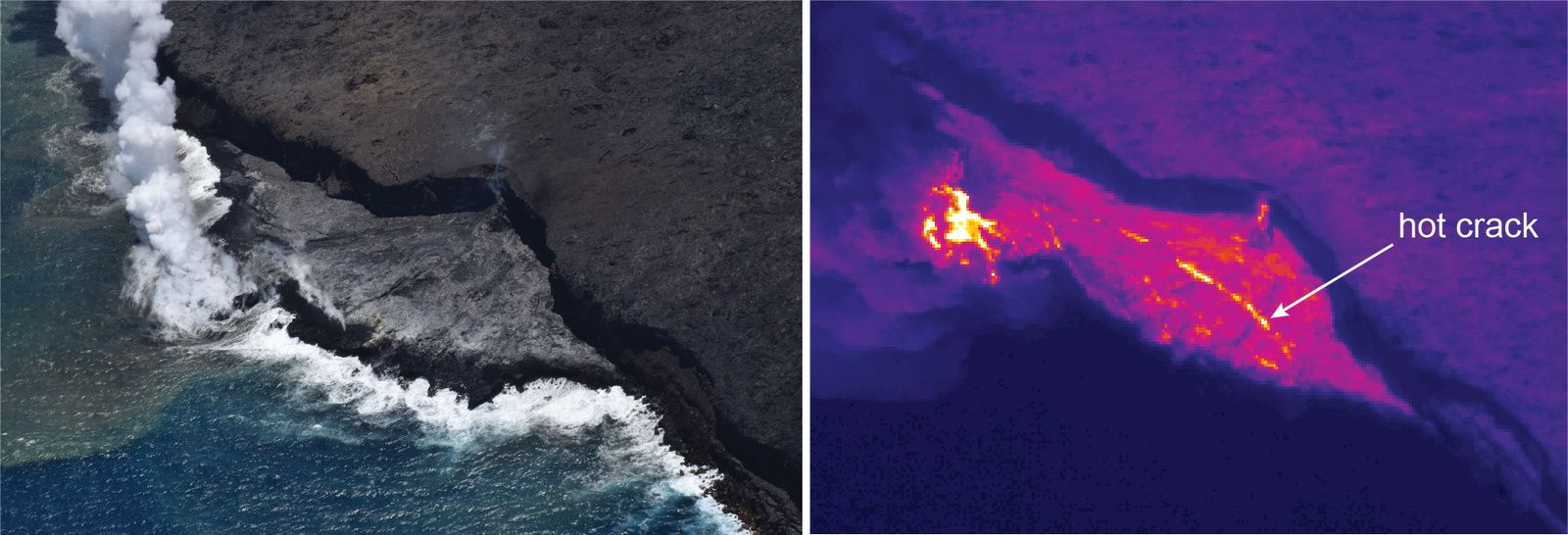 Kilauea - crack in the delta on this image in natural light and thermal image - photo HVO-USGS 21.06.2017