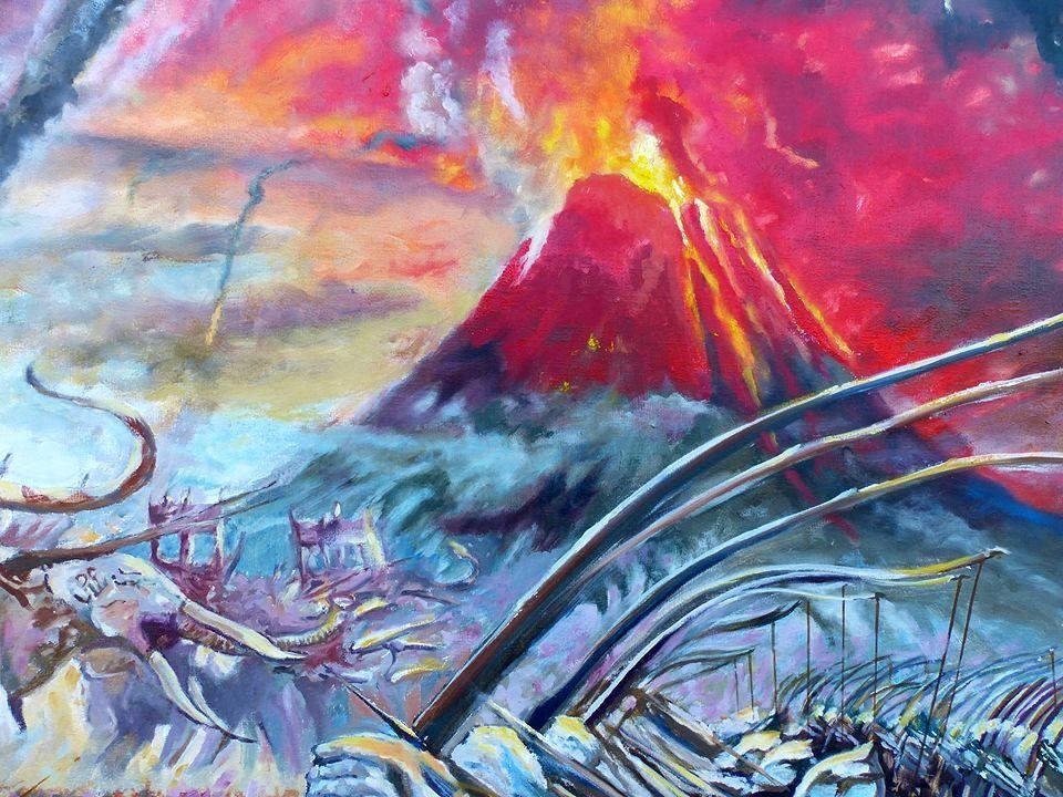 Détail sur l'éruption catackysmique du Mont Doom -  © Oeuvre de Jocelyn Lardy