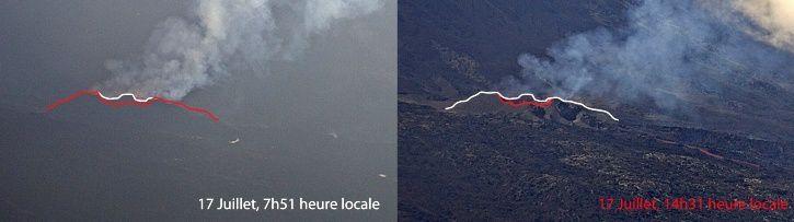 Piton de La Fournaise - Prises de vue sur le site éruptif depuis le Piton de Bert le 17 Juillet 2017 (Images IRT/OVPF). En blanc la bordure du cône à 7h51 (heure locale), en rouge la bordure du cône à 14h31 (heure locale). (© OVPF/IPGP)