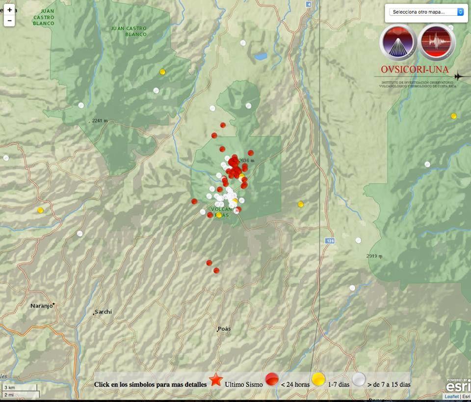 Poas - localisation des séismes des derniers jours - carte Ovsicori