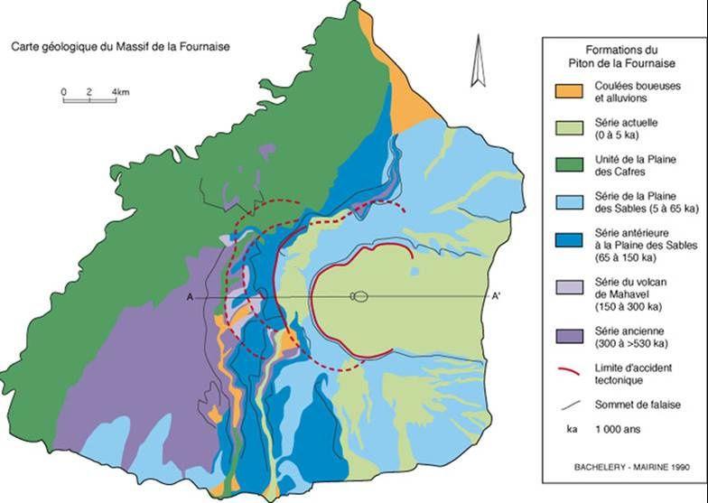 Carte géologique du massif du Piton de La Fournaise - l'unité de La Plaine des Cafres : en vert bronze - doc. OVPF