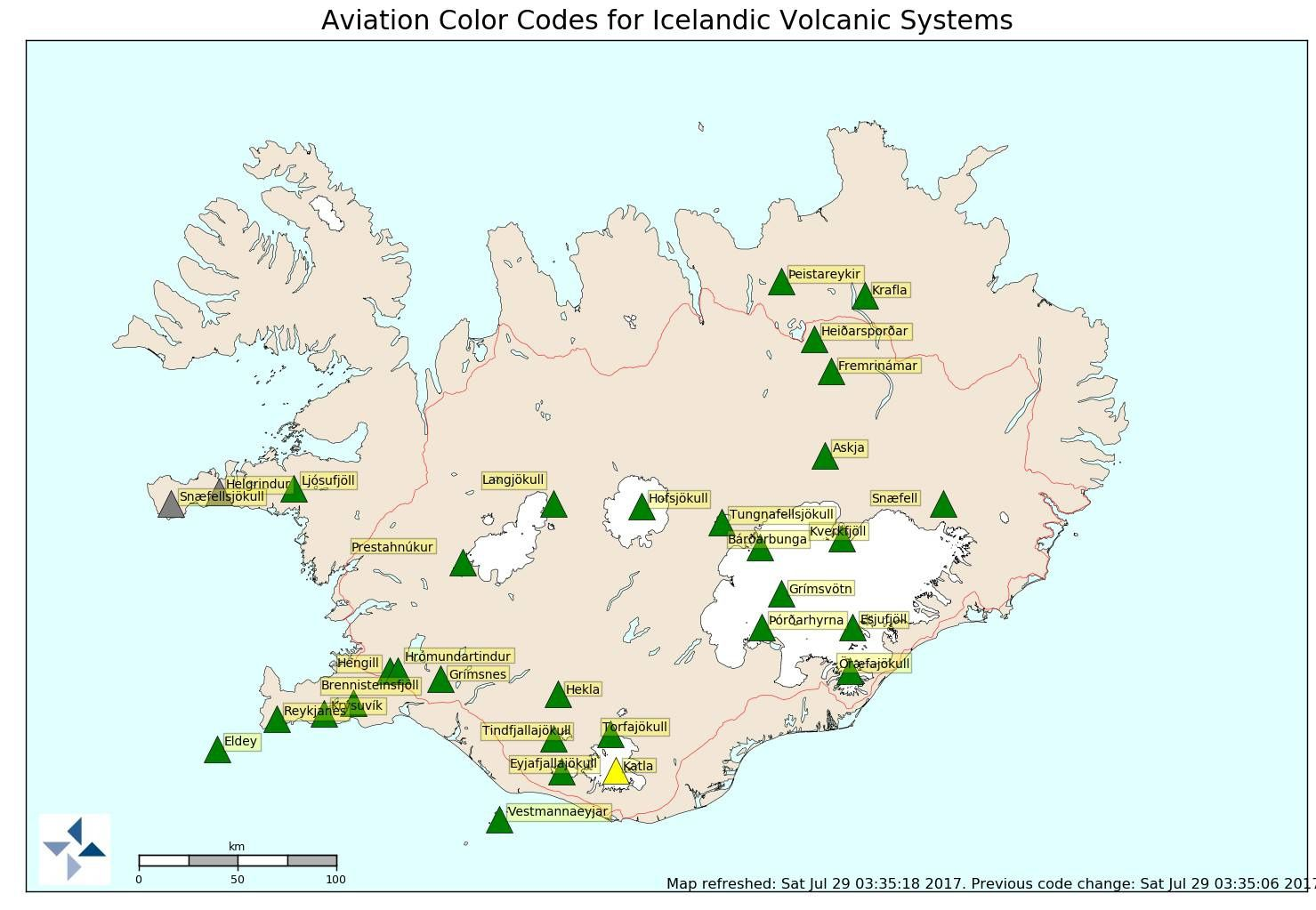 Increase in seismicity in Katla and change to code Yellow - 29.07.2017 / 8:25 GMT - Iceland univ.