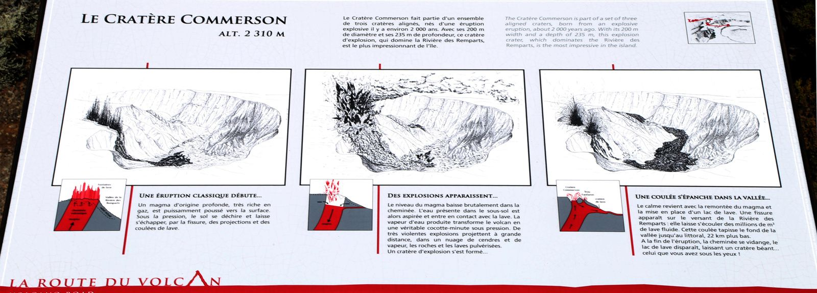 Crater Commerson - explanatory panel of the outbreak of the eruption - a click to enlarge - photo © Bernard Duyck / June 2017