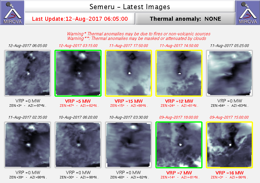 Semeru - thermal anomaly between 9 and 12 August 2017 - Doc. Mirova / Modis