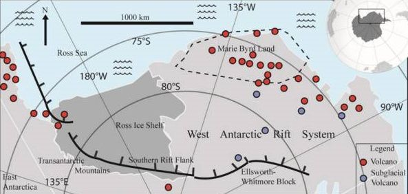 2017.08 - situation of west Antarctic rift system elements and confirmed volcanoes (confirmed red volcanoes) confirmed volcanoes (after LeMasurier et al., 1990 Smellie & Edwards 2016).