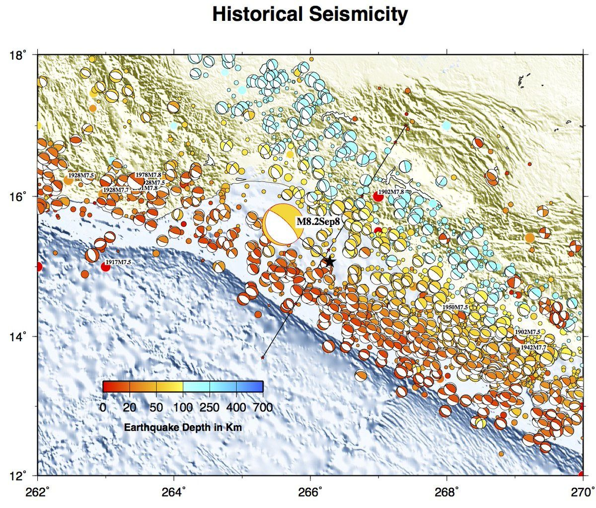 Historique de la sismicité au niveau de la côte sud du Mexique  - Historical seismicity in the Mexico's southern coast.  (Figure modified from USGS by  Jascha Polet) / CSEM.