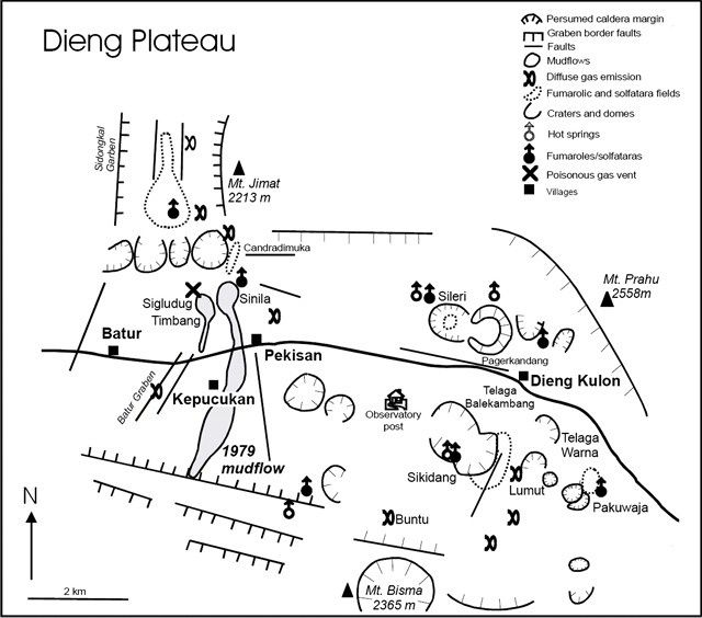 Dieng volcanic complex - carte  Van Bergen and others (2000) /  GVP