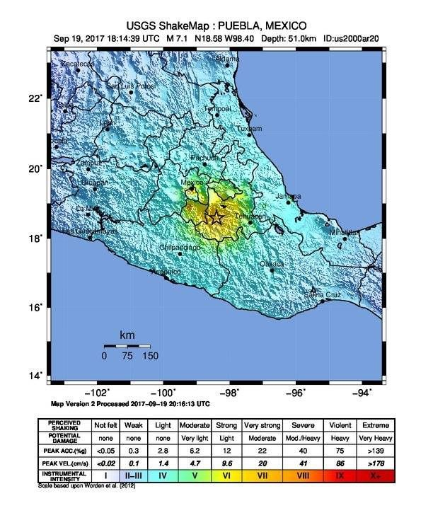 Puebla earthquake - map of the feelings - Doc. USGS