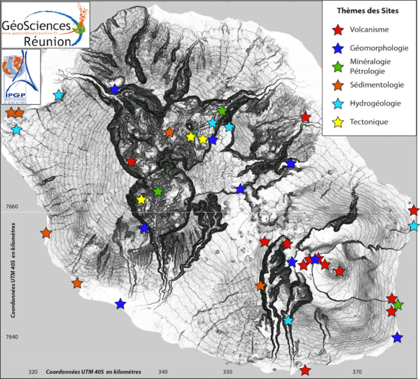 Geology of Reunion Island - Location of remarkable sites according to themes mentioned - GeoSciences - IPGP
