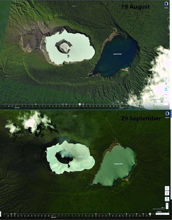 Ambae - these satellite photos taken on August 19 and September 29, 2017 show the morphological changes of the cone of Manaro Voui - photo via Twitter @ planetlabs