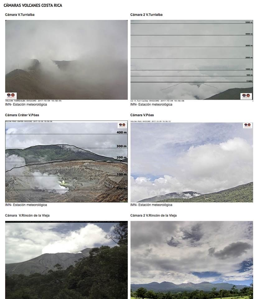 Webcams of the active volcanoes Costariciens on 09.10.2017 / 11h local - doc. Ovsicori