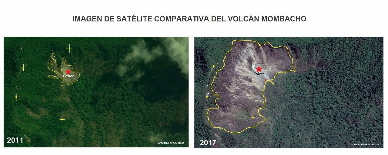 Mombacho - evolution of vegetation between 2011 and 2017, on satellite images - Geografia de Nicaragua photos- a click to enlarge