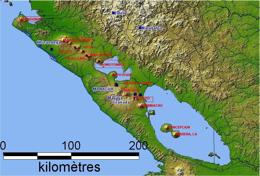 Location of the Mombacho among the many Nicaraguan volcanoes - 3D map LAVE.Be