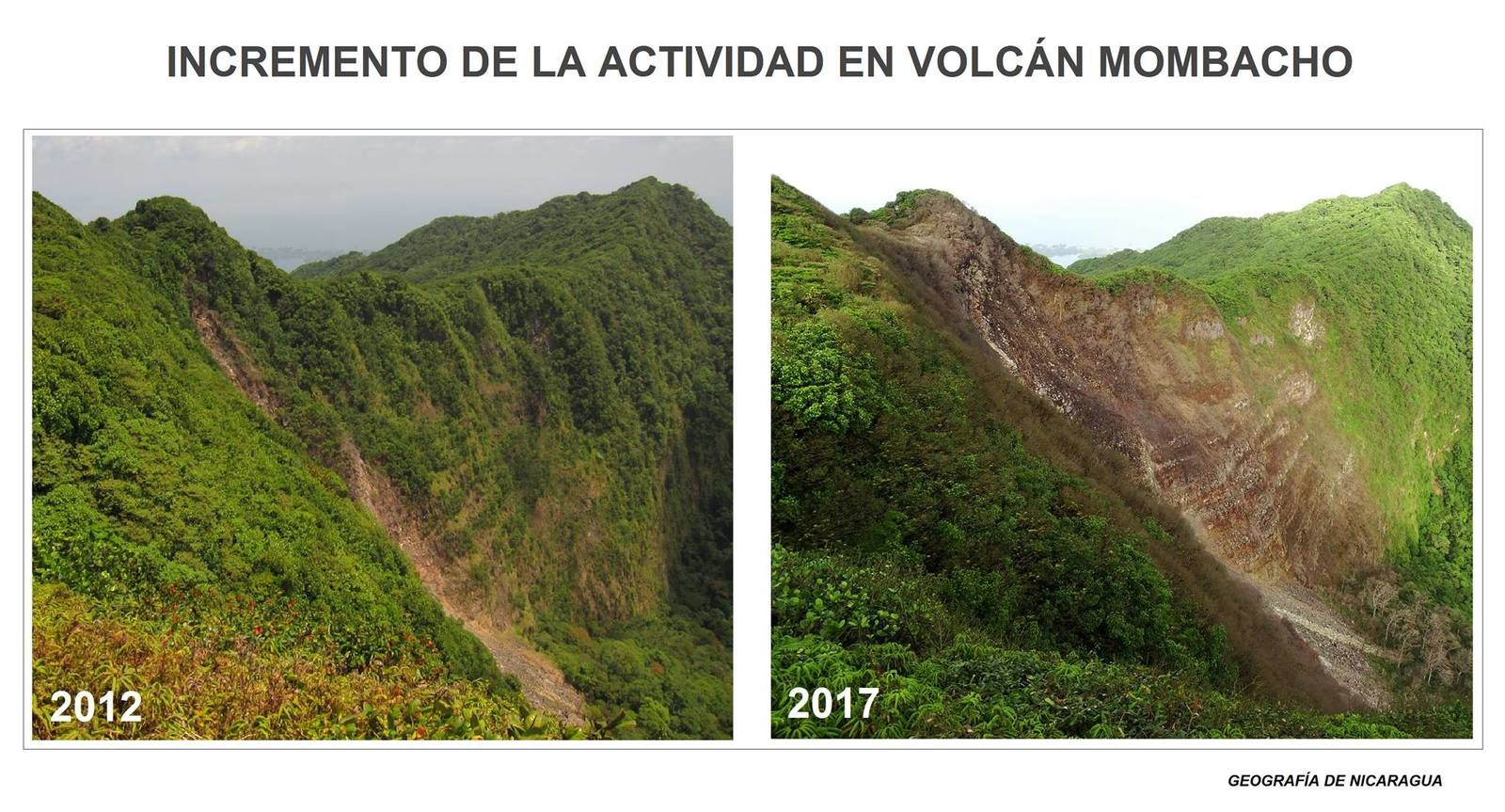 Mombacho - evolution of the vegetation between 2012 and 2017 - photos Geografia of Nicaragua