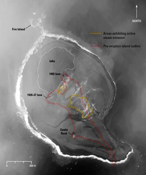 Bogoslof - Doc. Digital globe nextview license - image Chris Waythomas / AVO 09.10.2017 - the red line outline the island before the eruption.
