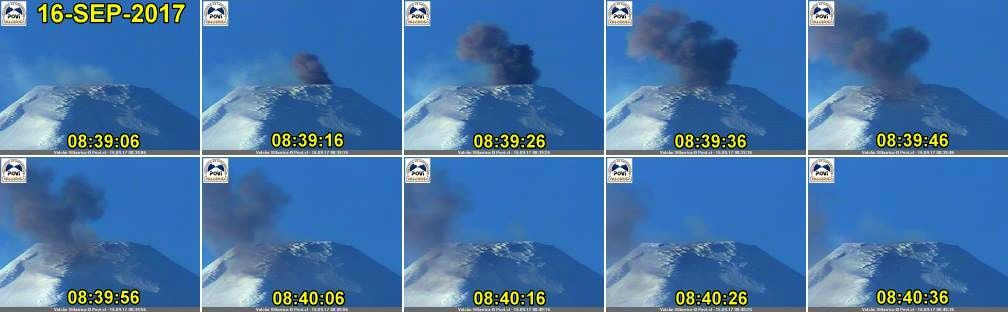 Villarica - chronological sequence of the ash emission of 16,09,2017 / 8h39-8h40 - photo POVI / W.Keller