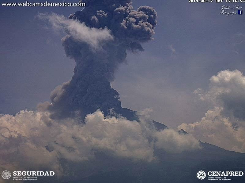 Popocatépetl - on 17.06.2019 at 15h16 - photo Cenapred / Seguridad / webcamsdeMexico