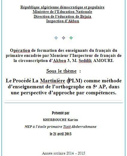 Le Procédé La Martinière (PLM) comme méthode d'enseignement de l'orthographe en 5e AP, dans une perspective d'approche par compétences.