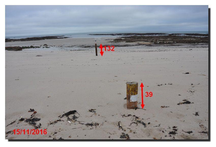 La dernière grande marée : la mer a frappé et emporté du sable